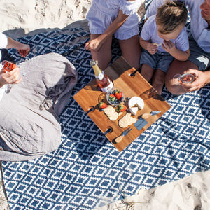 Komorebi-Diamond-Jacquard-Picnic-Blanket-Soft-Cotton-Beach-Picnic-Table