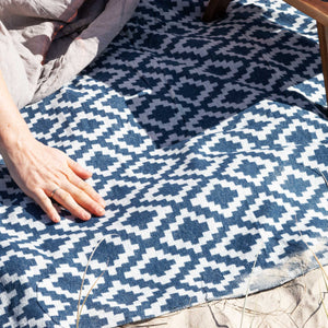 Komorebi-Diamond-Jacquard-Picnic-Blanket-Soft-Cotton-Beach-Soft-Fabric