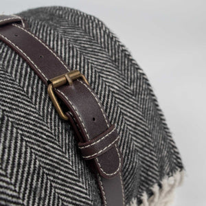 Komorebi-Grey-Herringbone-Picnic-Blanket-Brushed-Metal-Buckles
