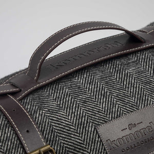 Komorebi-Grey-Herringbone-Picnic-Blanket-Leather-Carry-Straps