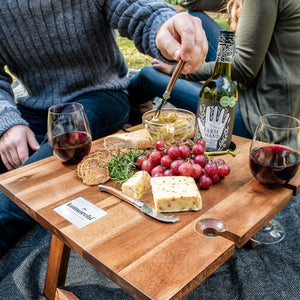 Komorebi-Grey-Herringbone-Picnic-Blanket-Picnic-Table-Red-Wine-Cheese-Board