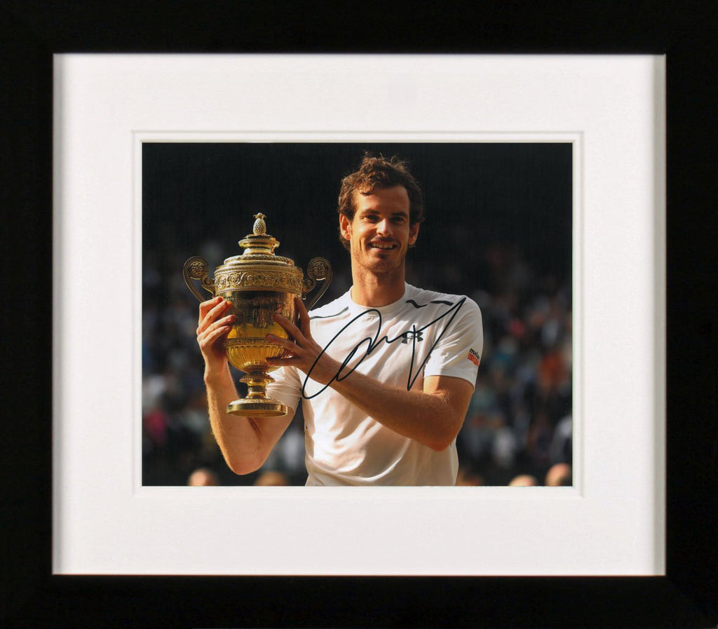 Sir Andy Murray Holding Trophy Signed Photo Display