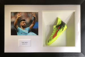 Sergio Aguero Signed Boot Display