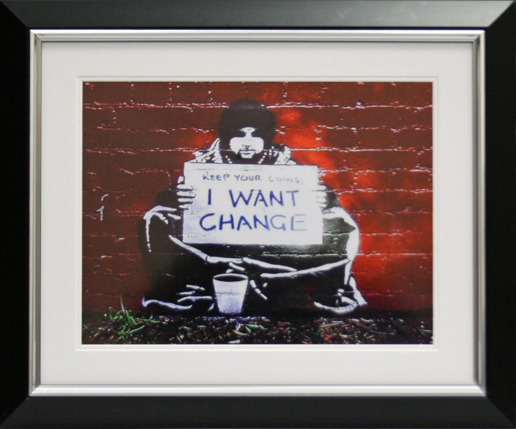 Banksy I Want Change Photo Display