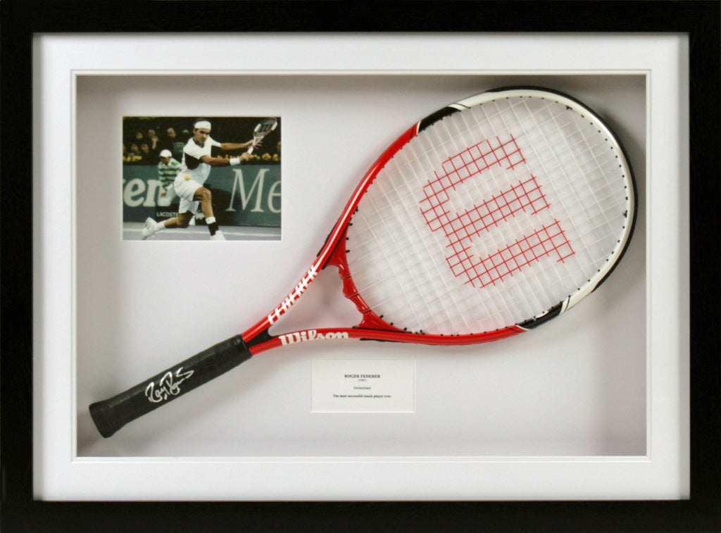 Roger Federer Signed Tennis Racquet Display