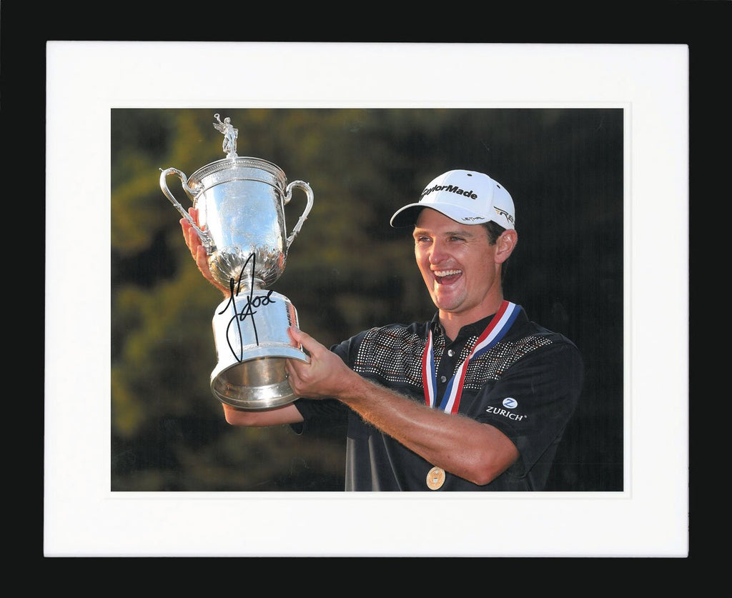 Justin Rose Holding Cup Signed Photo Display