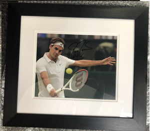 Roger Federer in Action Photo Display (Ball in Photo)