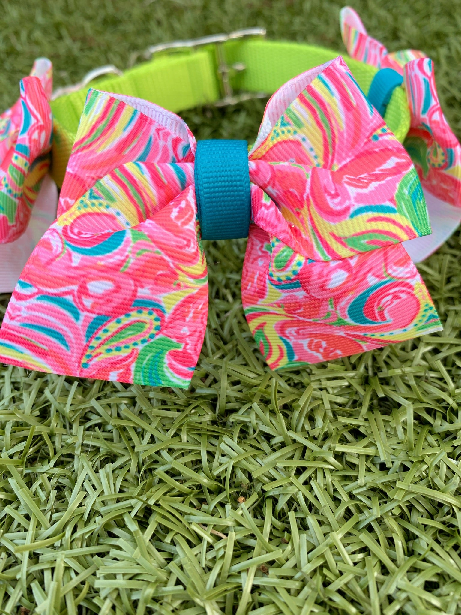 "Pink Flamingo ""Lilly"" Print Bow Collar"