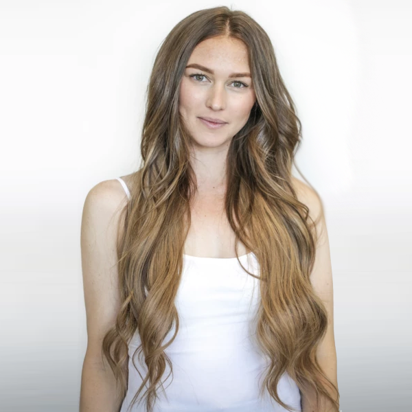 InterLaced Tape-In Extensions Ombré #3/8 (Spiced Cider) - Live Model