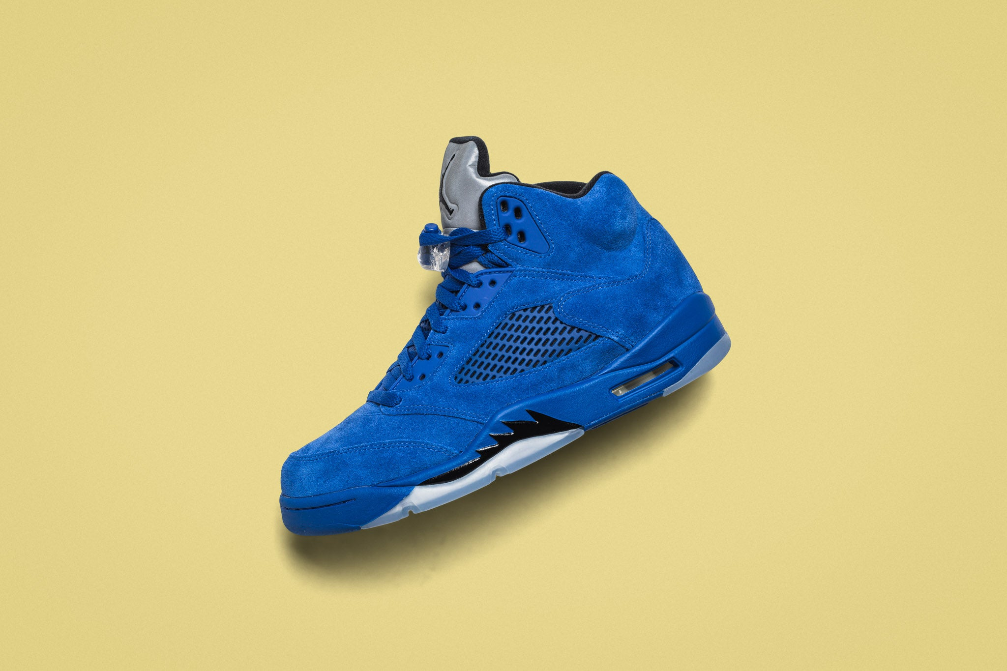 "online store 171d5 a164b The Air Jordan 5 Retro ""Flight Suit East"" goes full suede with the upper in  a clean royal blue. The upper is comprised of a clean suede with mesh vents  at ..."