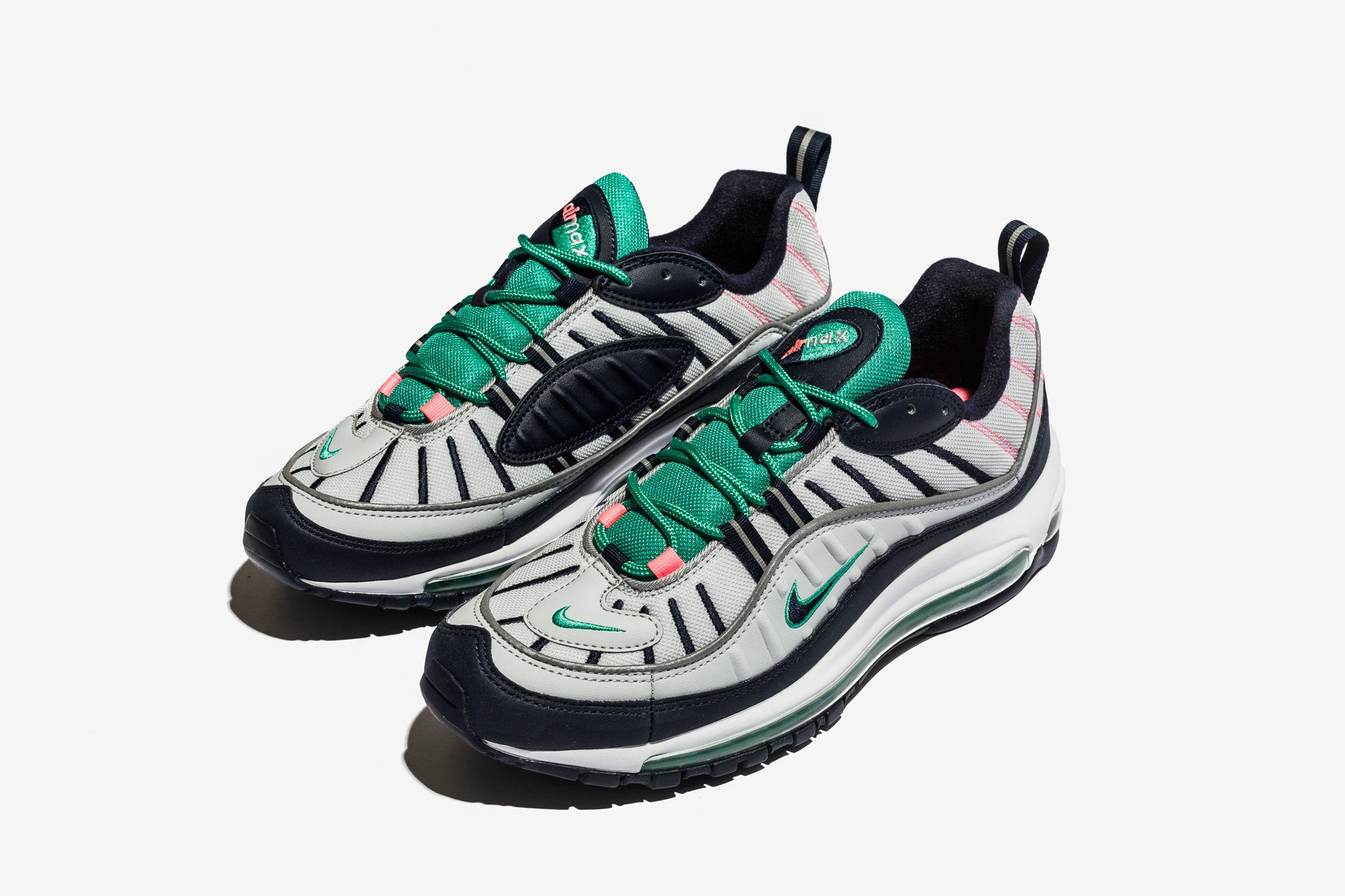 1de472243a The Air Max 98 rocks the Miami South Beach colour blocking and continues  onward with the retro Air Max runner rollout for 2018. The upper is  comprised of ...