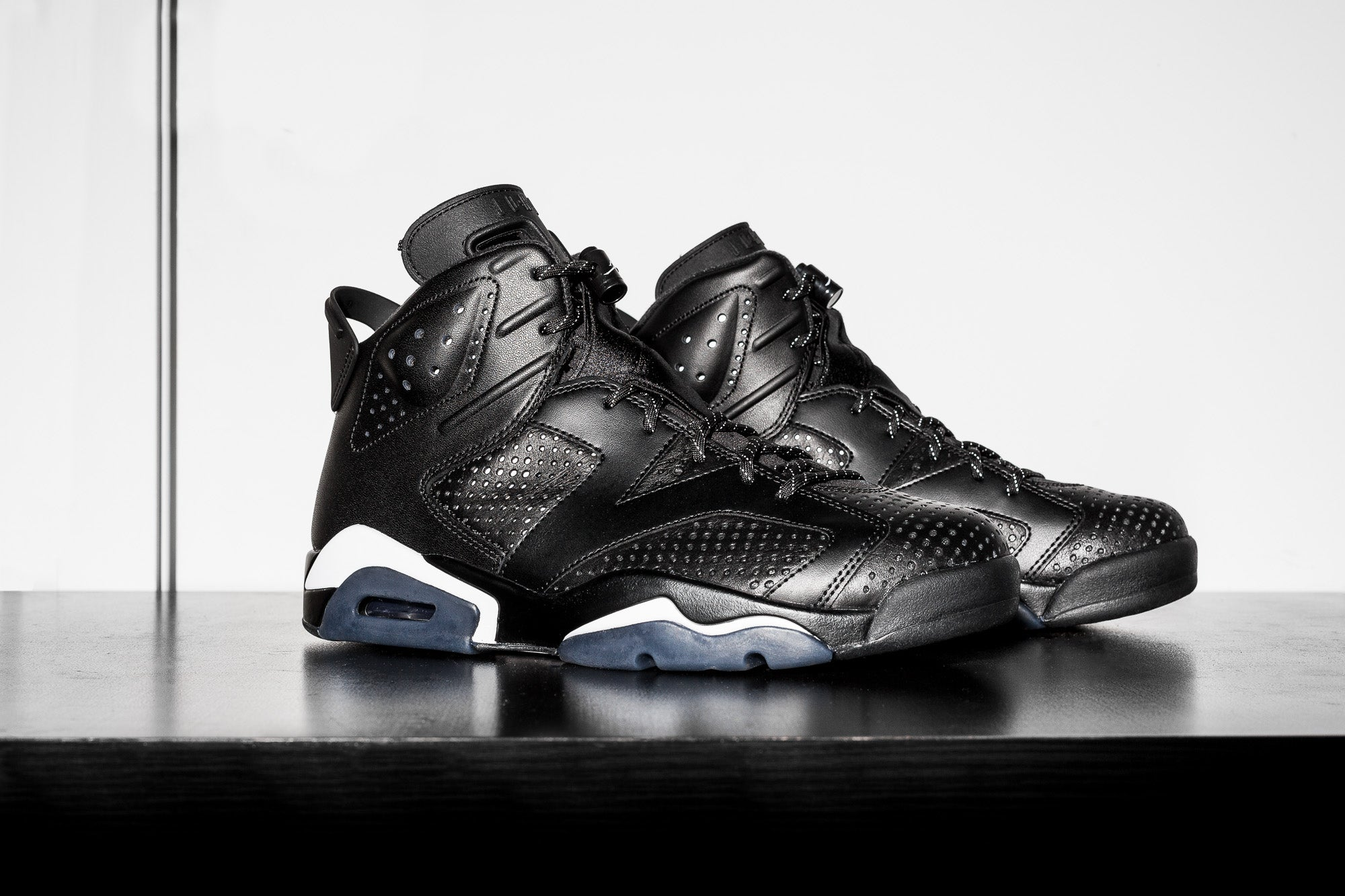 "c9e8706a56c0db The Air Jordan 6 Retro ""Black Cat"" dresses the jumpman s gear in an all- black perforated leather with matching black leather overlays."