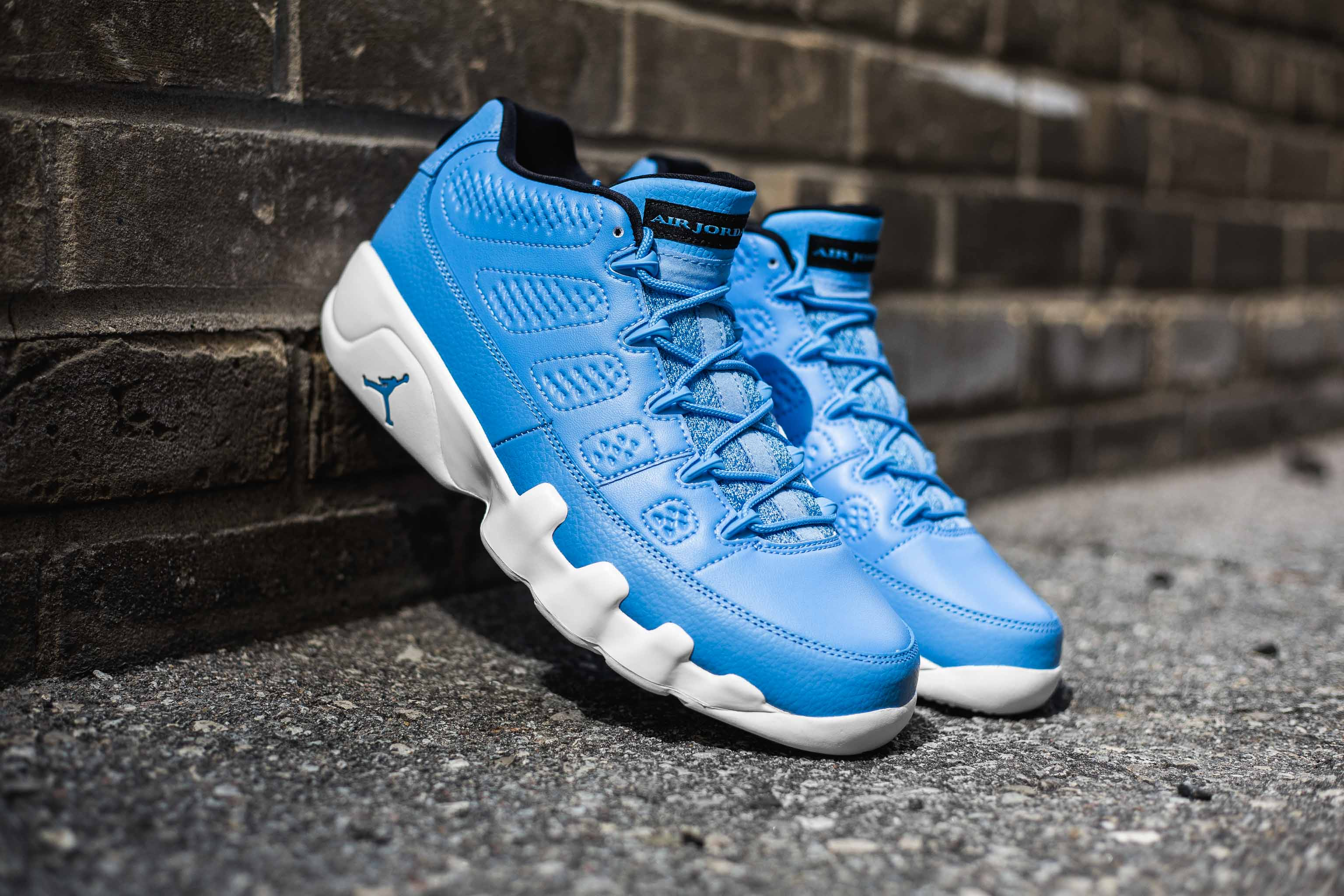 pretty nice cca50 cae4b The Air Jordan 9 Retro Low gets a powder blue makeover as a nod to his  Airness  roots in North Carolina. This pair features a university blue  leather upper ...