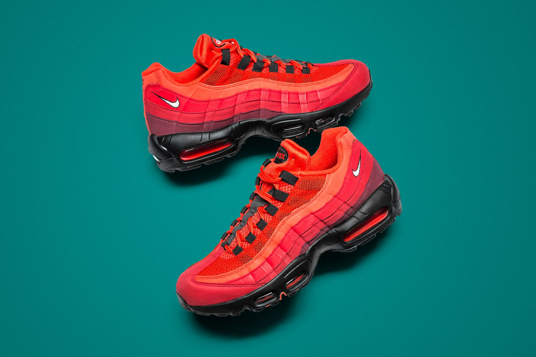 "the best attitude 0ac52 68a36 The Nike Air Max 95 OG ""Habanero Red"" goes to red alert status with  lightweight synthetic uppers and mesh portions with red gradient colour  blocking."