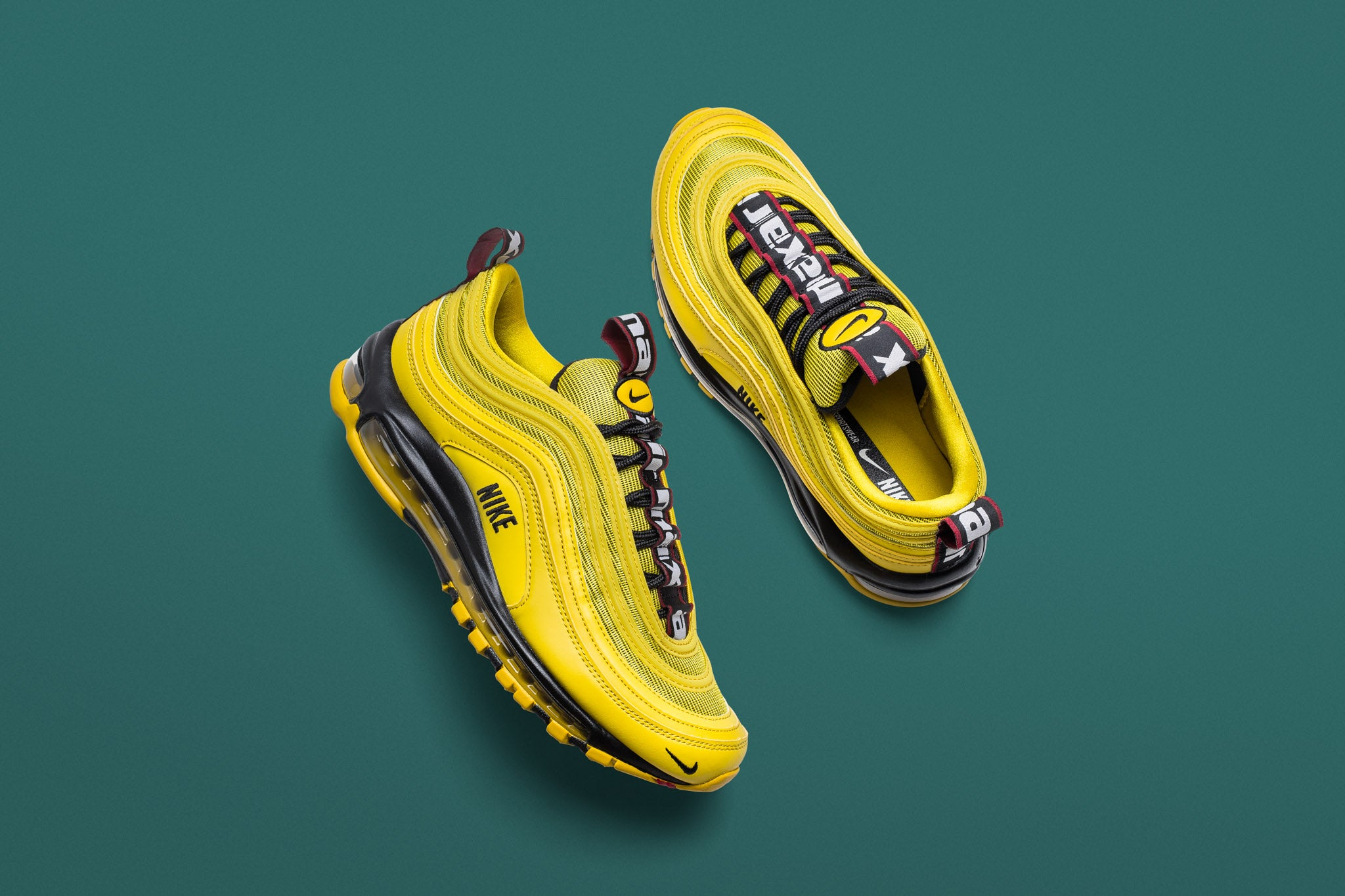 cheap for discount c1240 4e8a1 The latest Air Max 97 spikes the lemonade with a bit of citron yellow and  3M reflective accents this time around. The upper combines synthetics and  textile ...