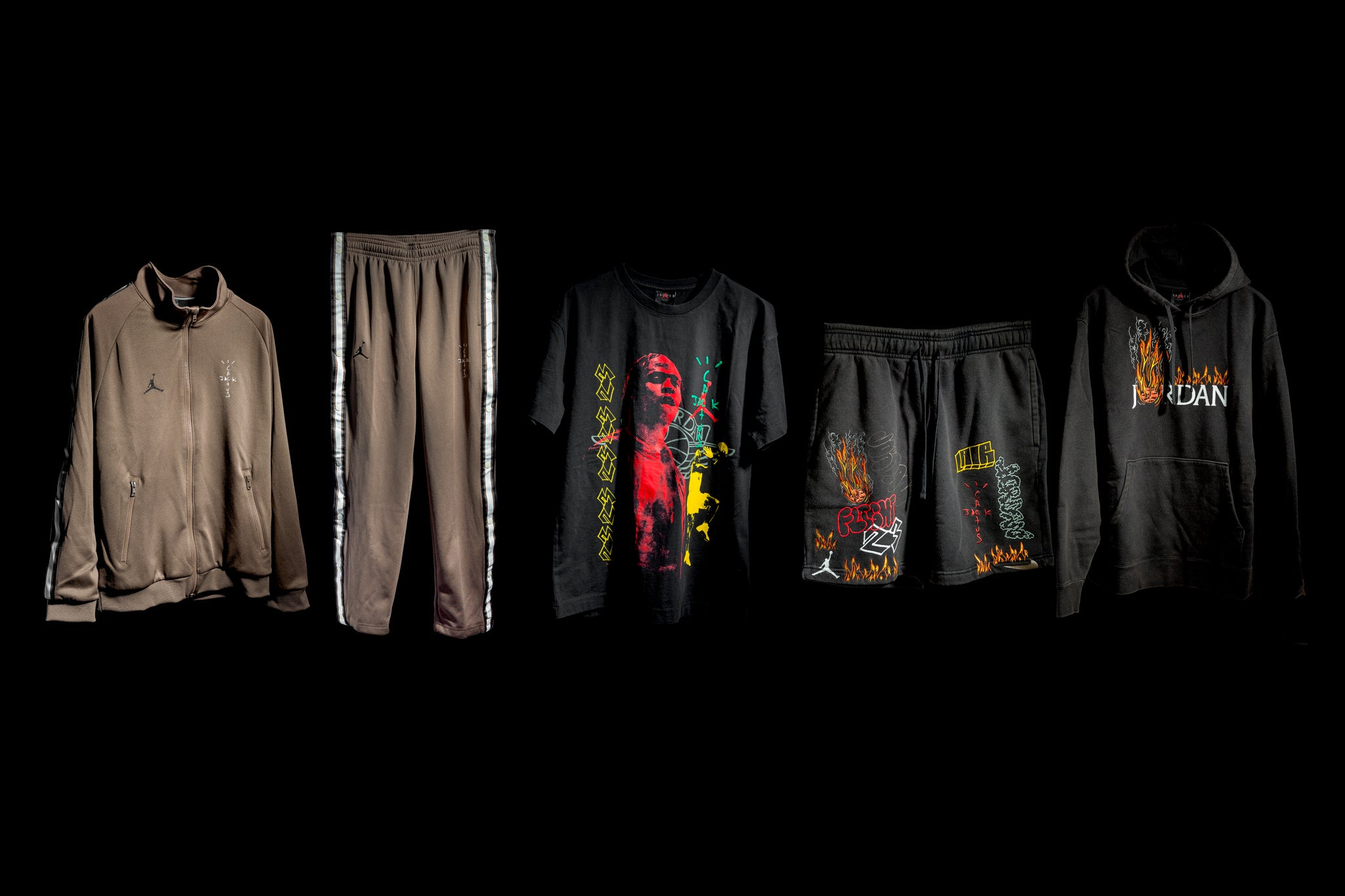 767e263453c To compliment the Cactus Jack Air Jordan 1, Travis Scott and Jordan design  a five piece apparel collection loaded with La Flame's merch-styled  graphics.