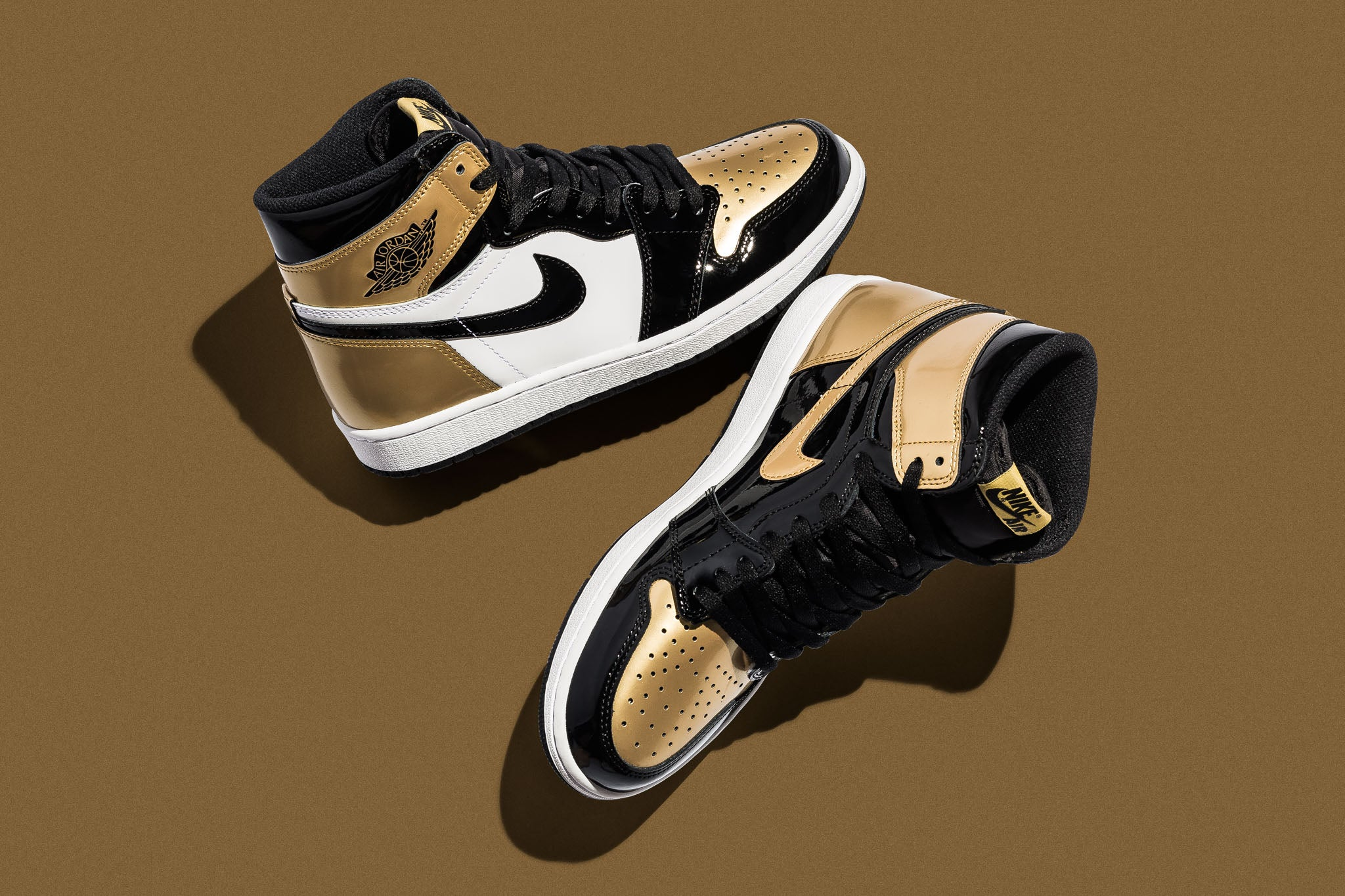 "buy online ecac9 fe7ab As a follow up to the Air Jordan 1 ""Top 3"" released near the end of last  year, the Air Jordan 1 Retro high OG NRG ""Gold Toe"" combines white, ..."