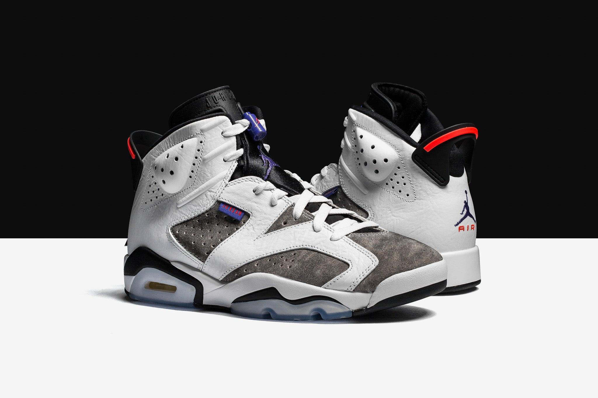 "77363c5a1d5 The Air Jordan 6 Retro ""Flight Nostalgia"" adopts the 2006 AJ7 colourway  with smooth suede uppers with leather uppers and hits of violet to contrast  the ..."