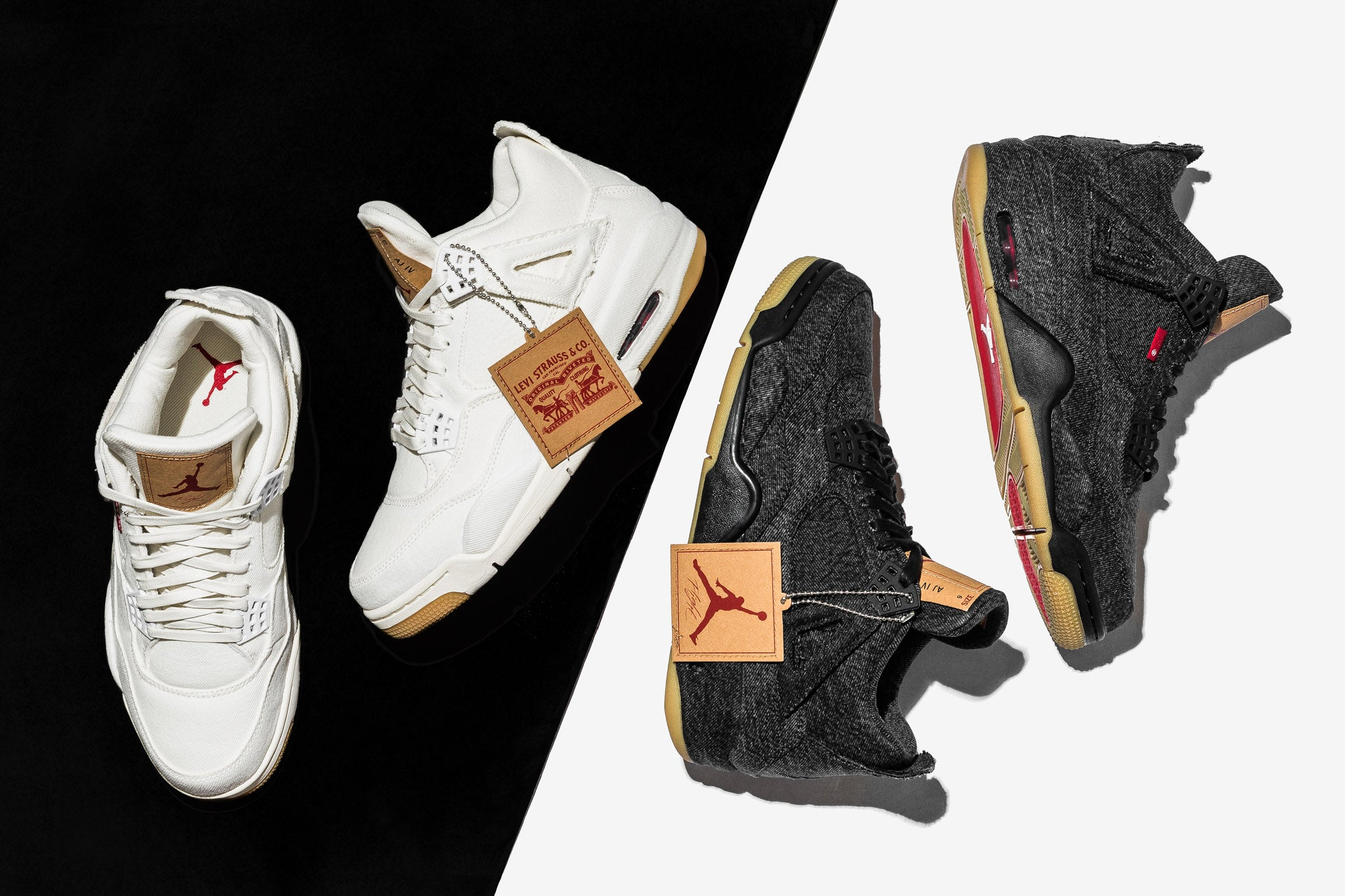 ed324ff4f7b Two Goliaths, Air Jordan and Levi's, come together once again for a black  denim and white denim rendition of the Air Jordan 4. After the massive  success of ...