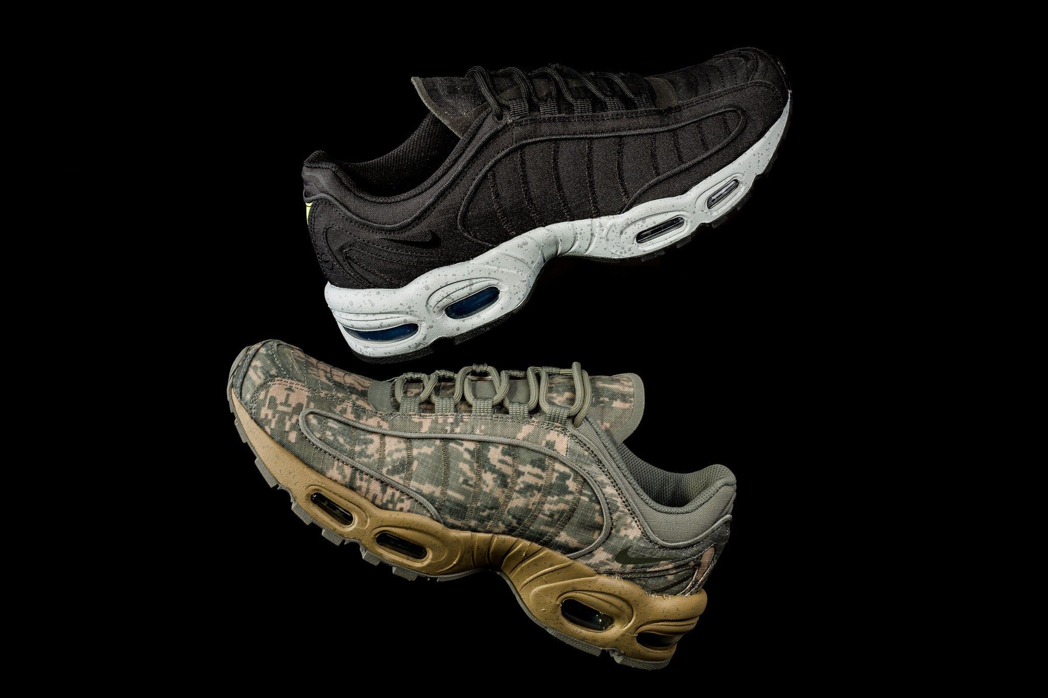d3c0dfed The Nike Air Max Tailwind IV SP Collection features a durable RipStop  treatment to the upper in a digi-camo pattern on one pair and a solid black  colour ...