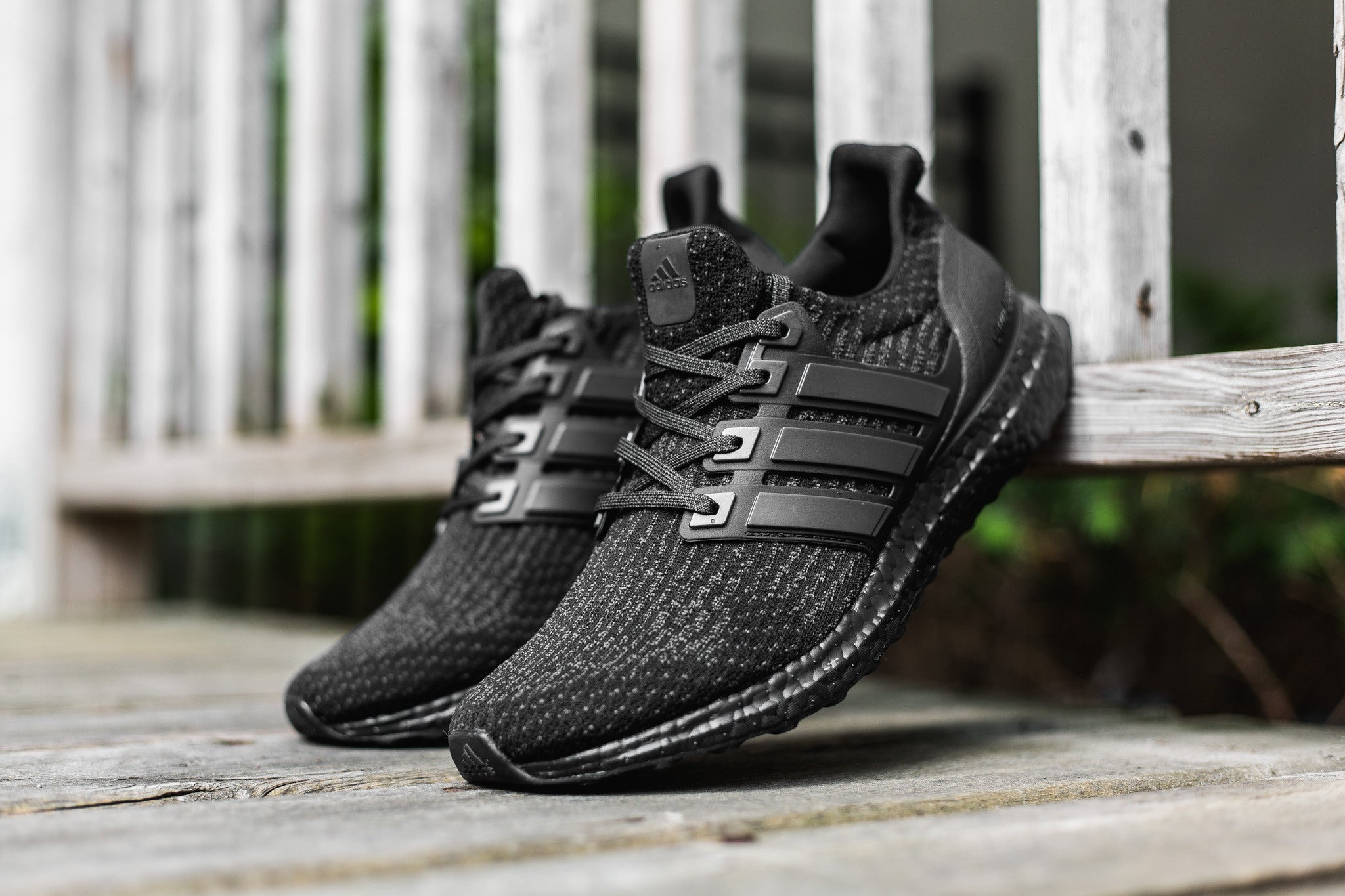 "37ac92cbea825 Back in black again! The adidas Ultra Boost 3.0 ""Triple Black"" returns with  a new Primeknit pattern dressed in black with a rough matte finish on the  heel ..."