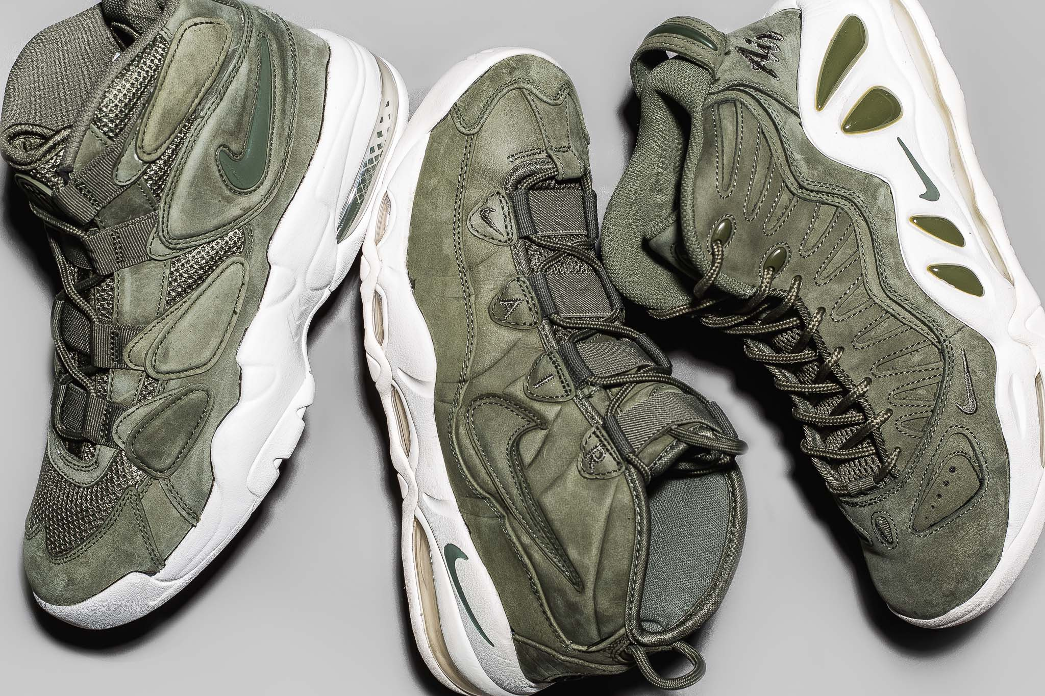 "c1778cd82d The Air Max Uptempo ""Urban Haze"" Pack arrives with 3 striking Uptempo  silhouettes dressed in olive drab ..."