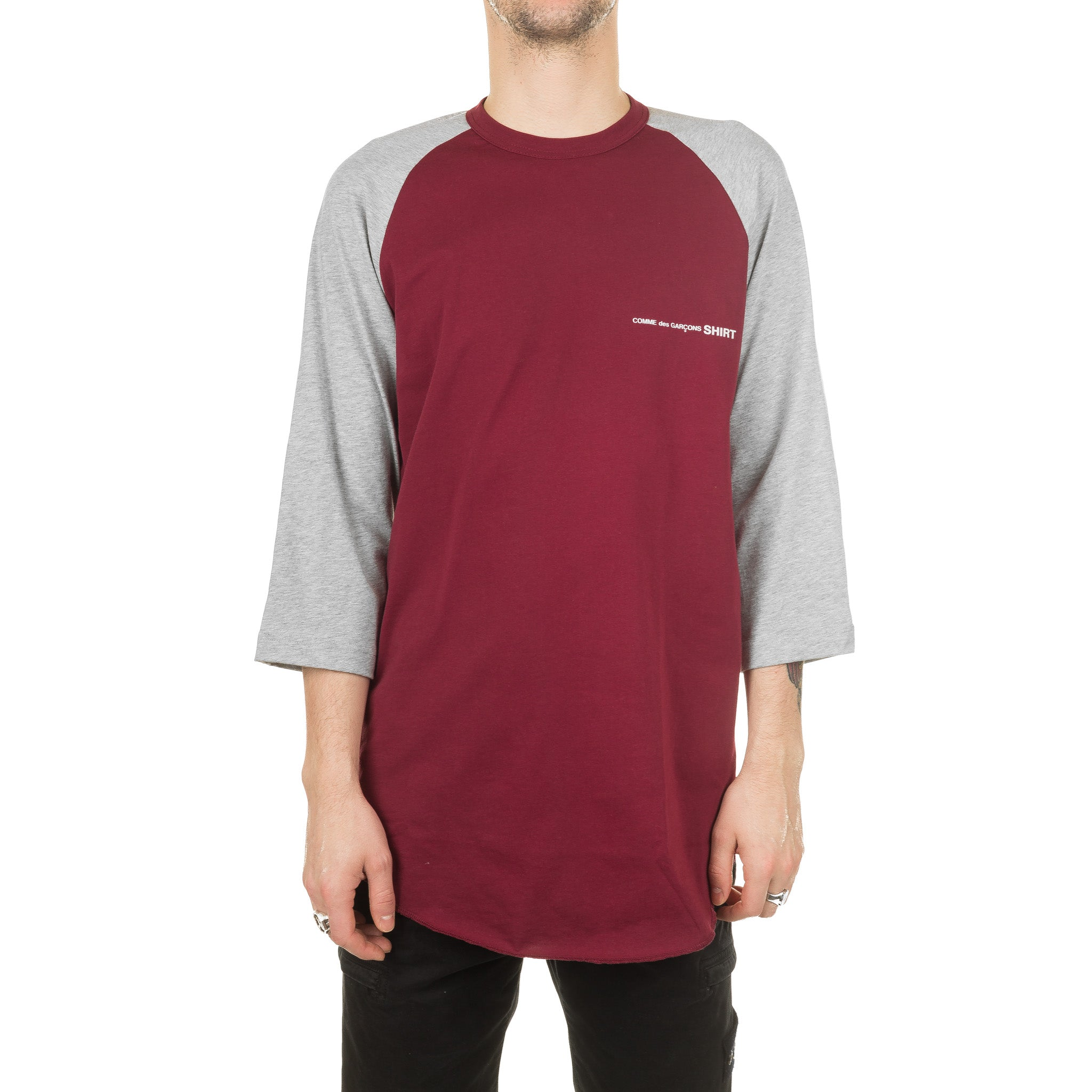 CDG Shirt Baseball Tee S28120 Burgundy