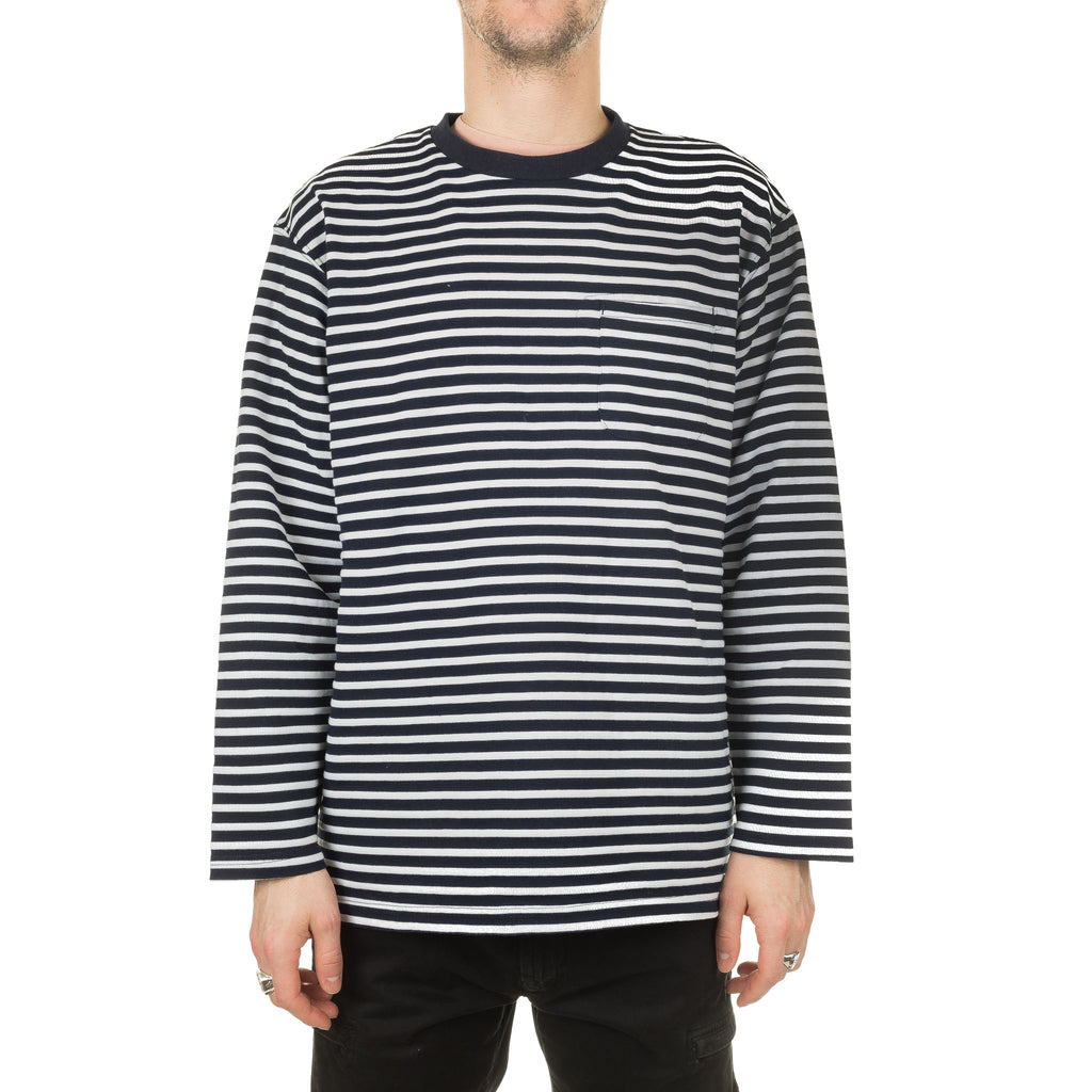 LS Crewneck Shirt PC Stripe 20S1B011 NL001 Navy