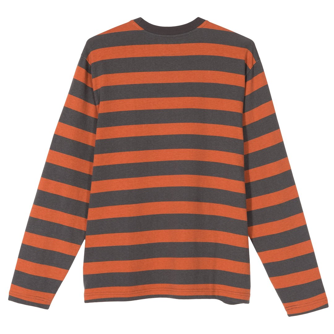 Printed Stripe LS Crew 1140161 Orange