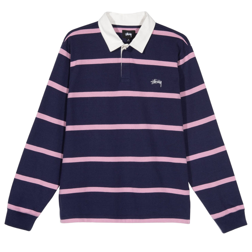 Hill Stripe LS Rugby 1140209 Navy