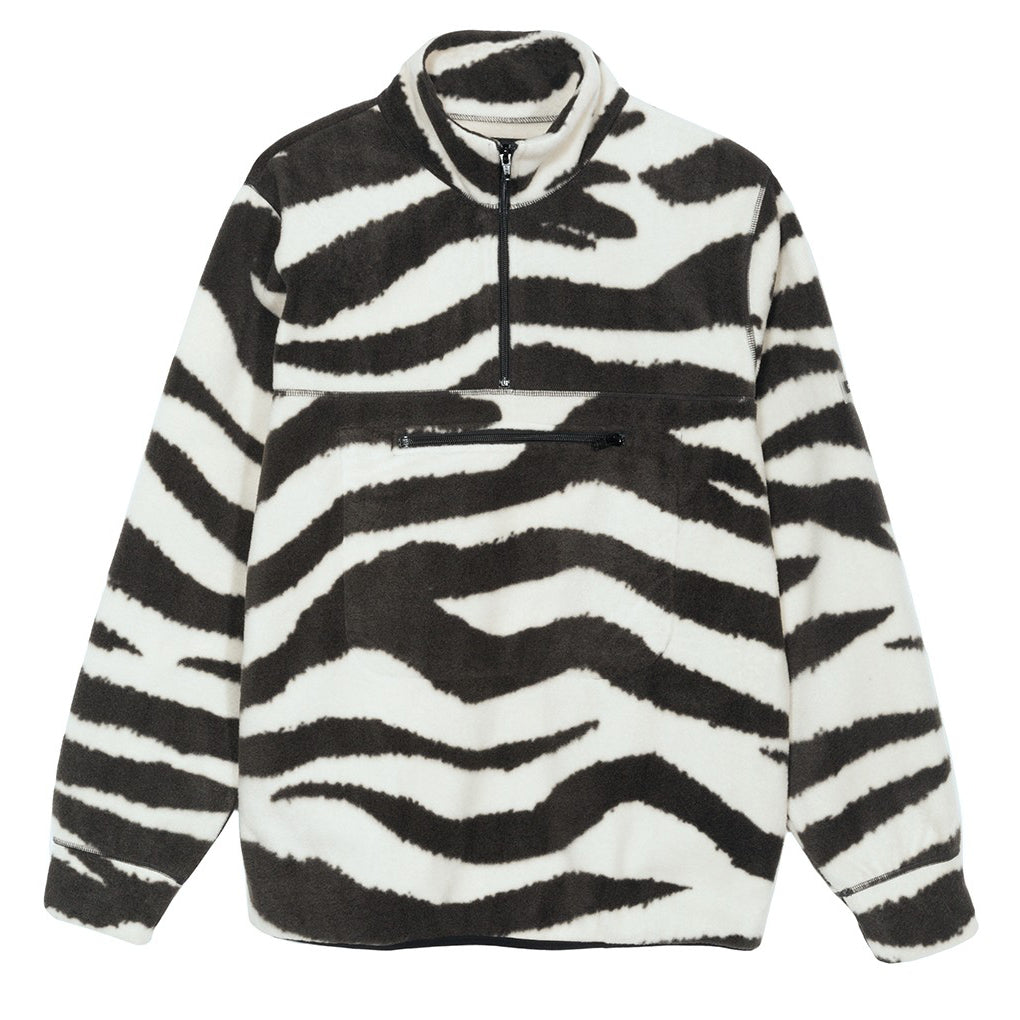 Polar Fleece Mock Neck Sweater Zebra