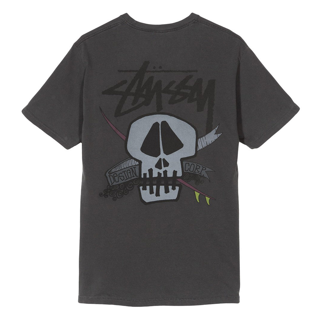 Surf Skull Pig Dyed Tee Black
