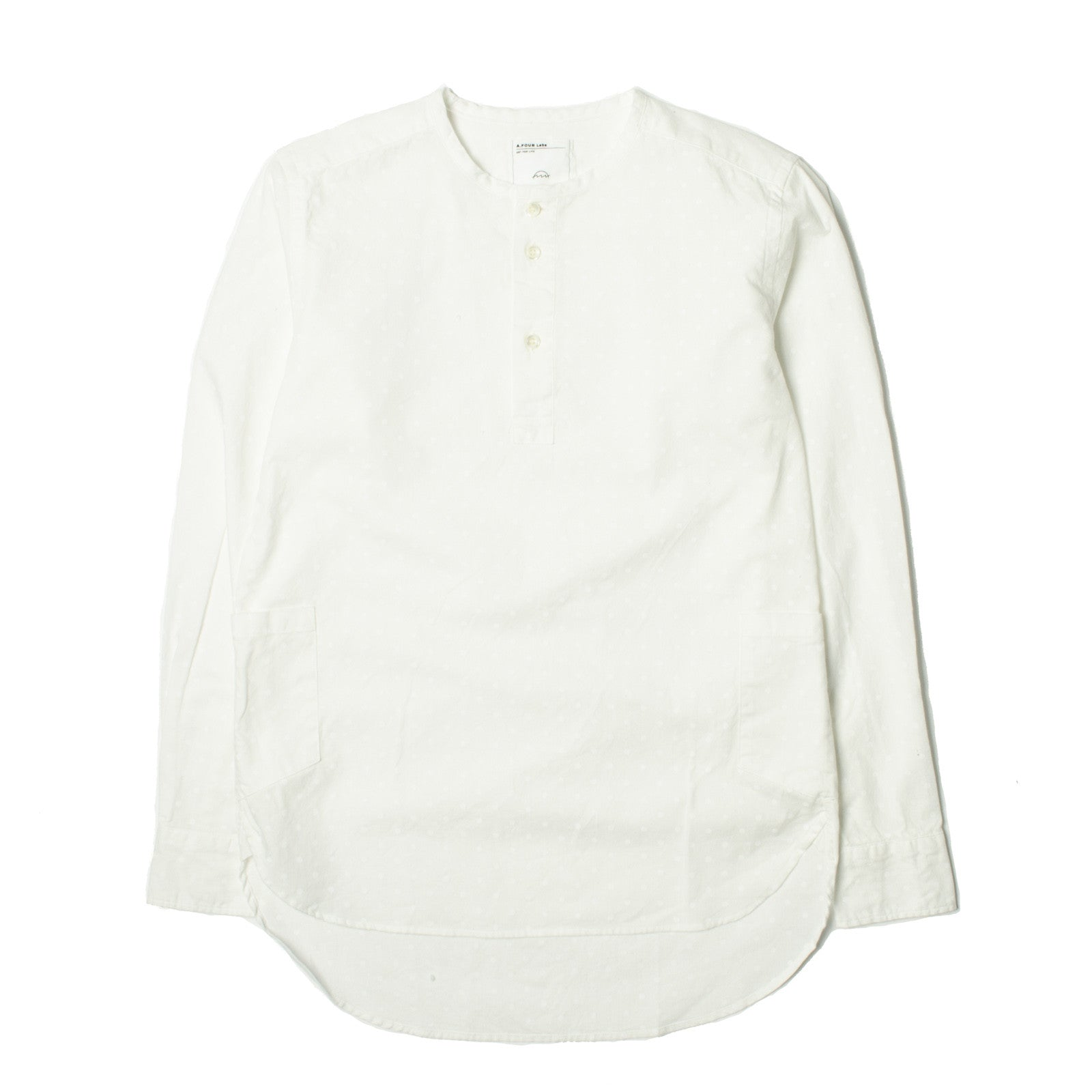 Collarless L/S Shirt White