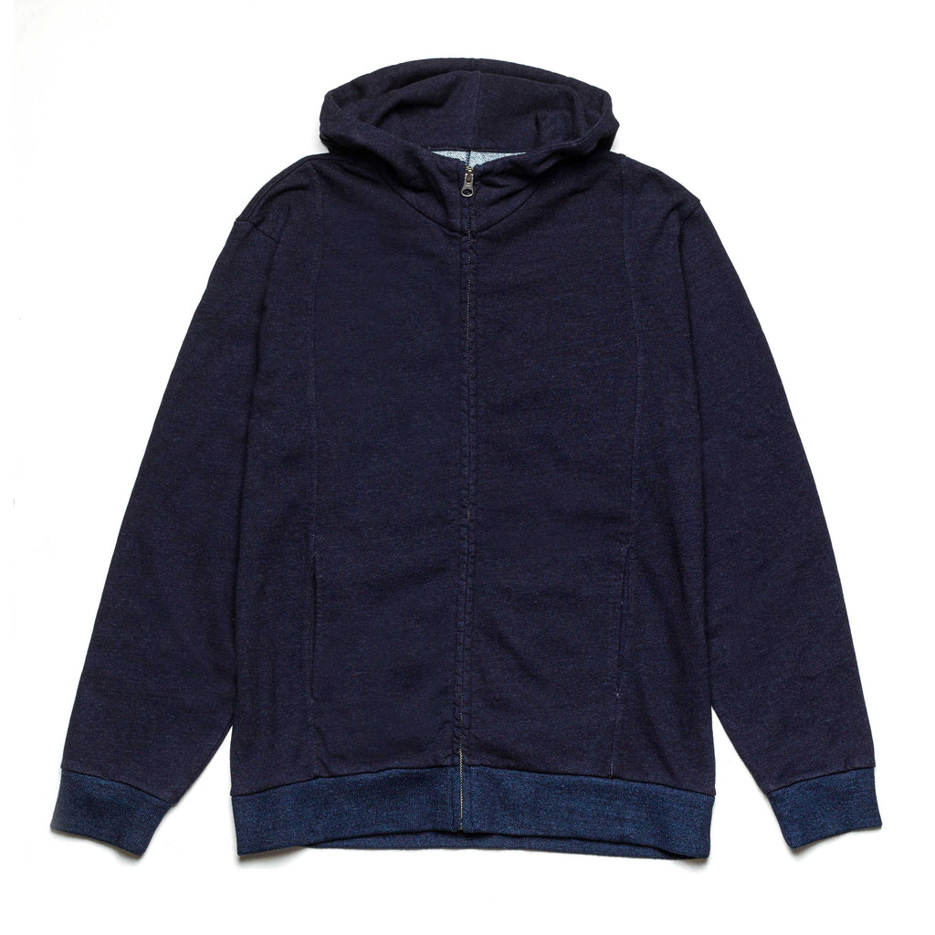 Split Back Zip Up Hoodie 77137 Indigo