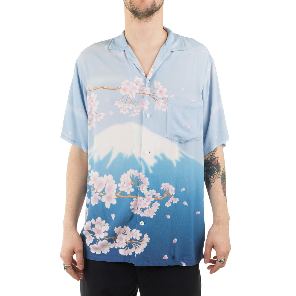 Rayon Chirimen Mt Fuji SS Shirt J6060 Light Blue