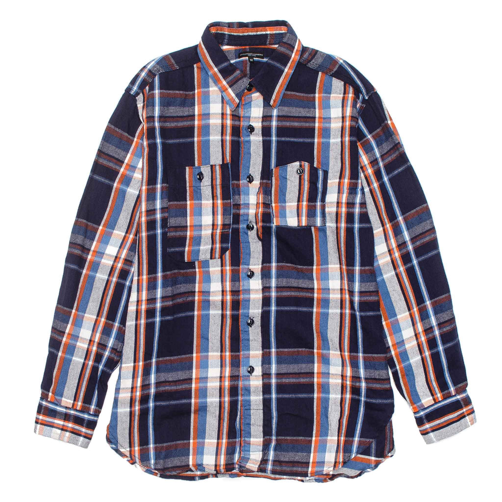 Work Shirt Twill Plaid 19FA007 Navy/Orange