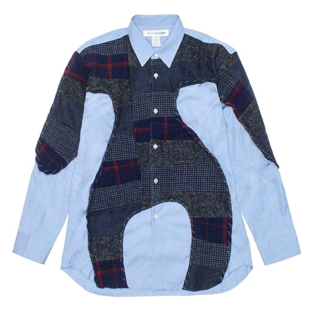 CDG SHIRT Wool Plaid Shirt W27035 Blue