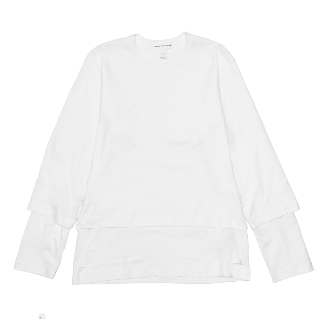 CDG SHIRT Double Layered Tee W27109 White
