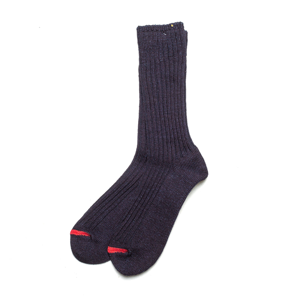 Indigo Dyed Rib Socks 70546 Red
