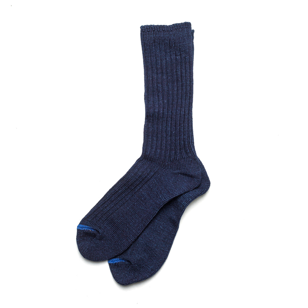 Indigo Dyed Rib Socks 70546 Blue