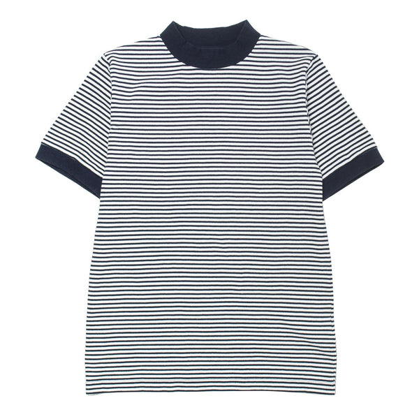 Striped Mock Turtleneck Tee