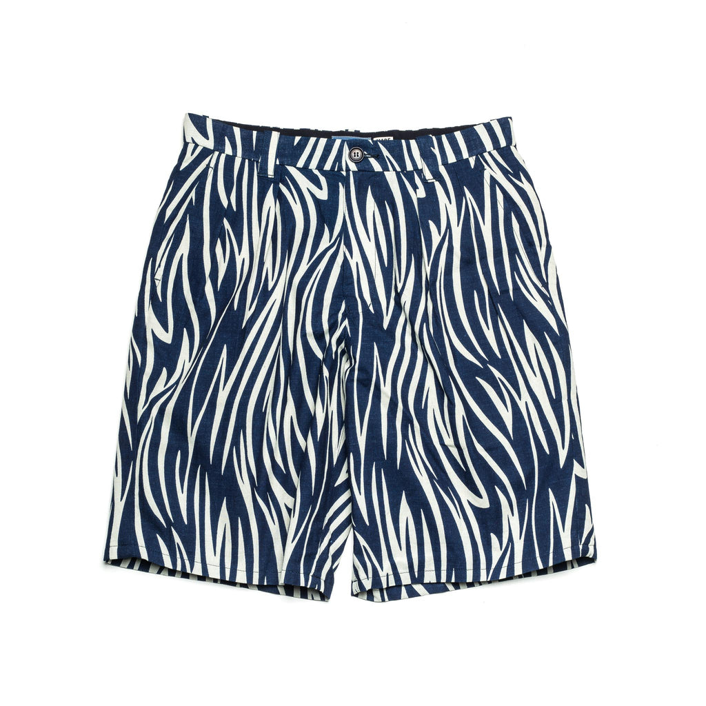 Wood Grain Tuck Wide Short 80086 Indigo