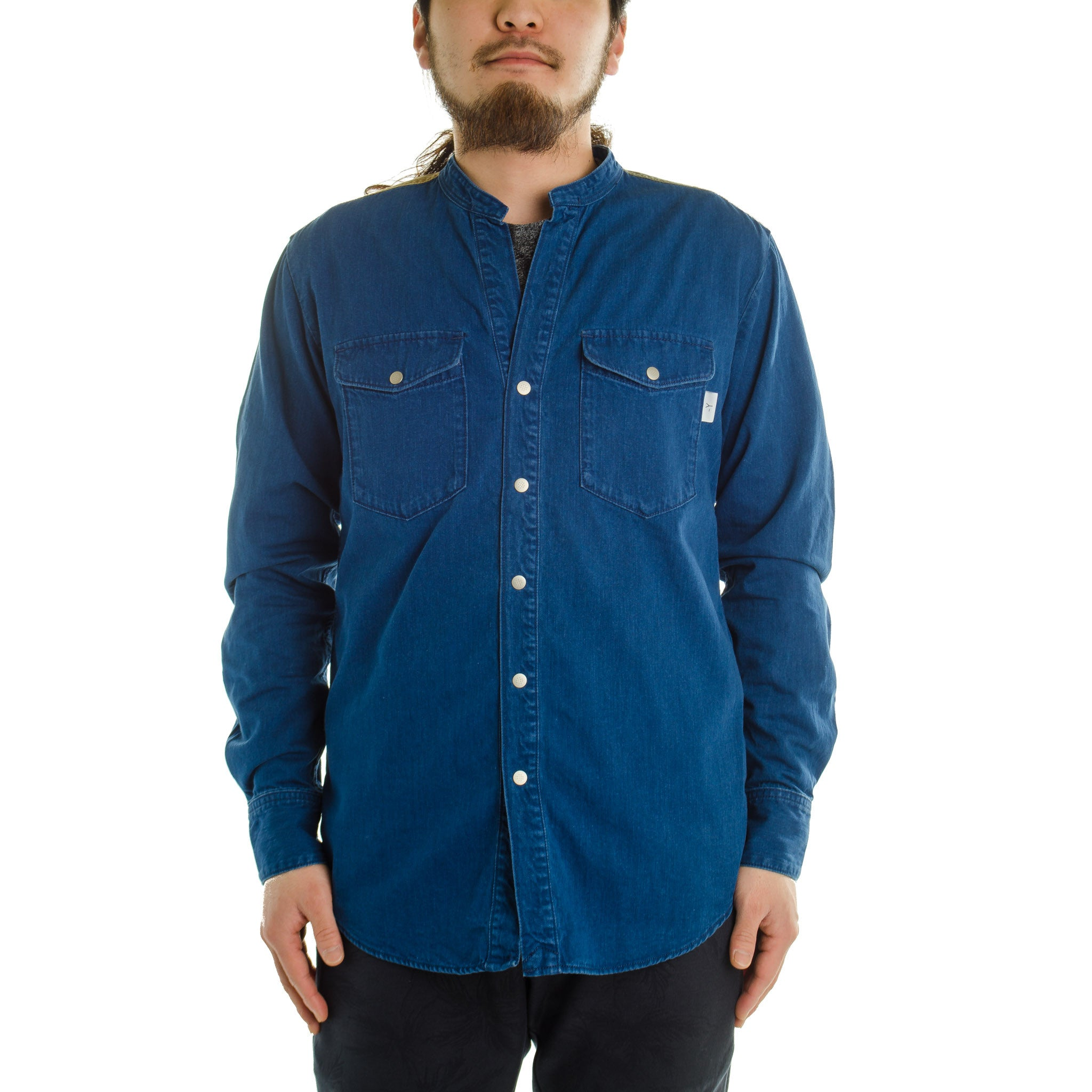 Band Collar Shirt Blue
