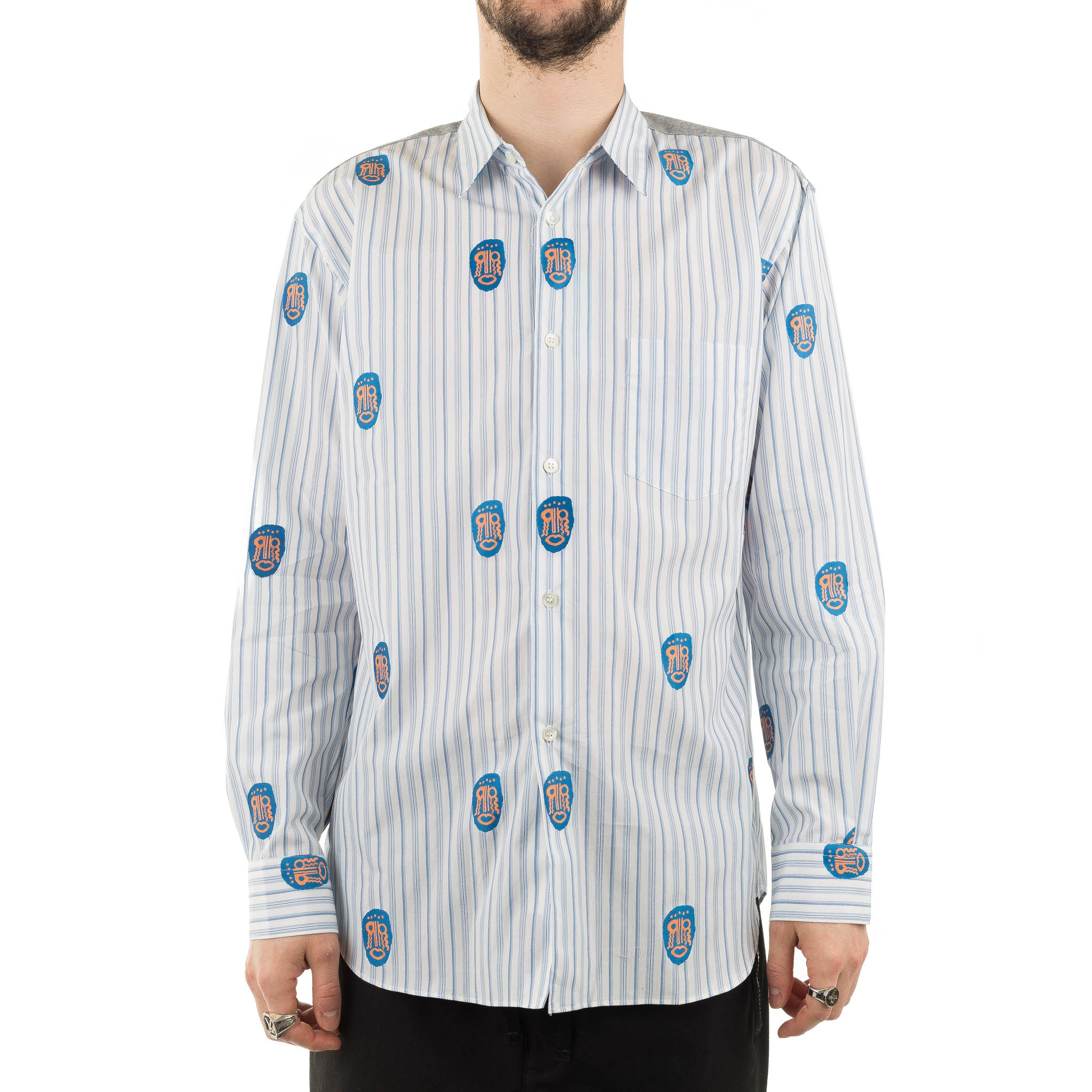 CDG Striped Mask Shirt S27022 Blue