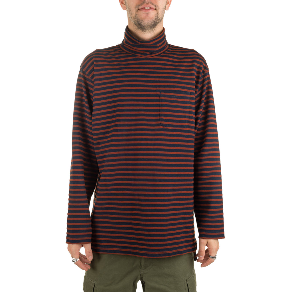 LS Turtleneck Shirt PC Stripe 19FB012 Brown Navy