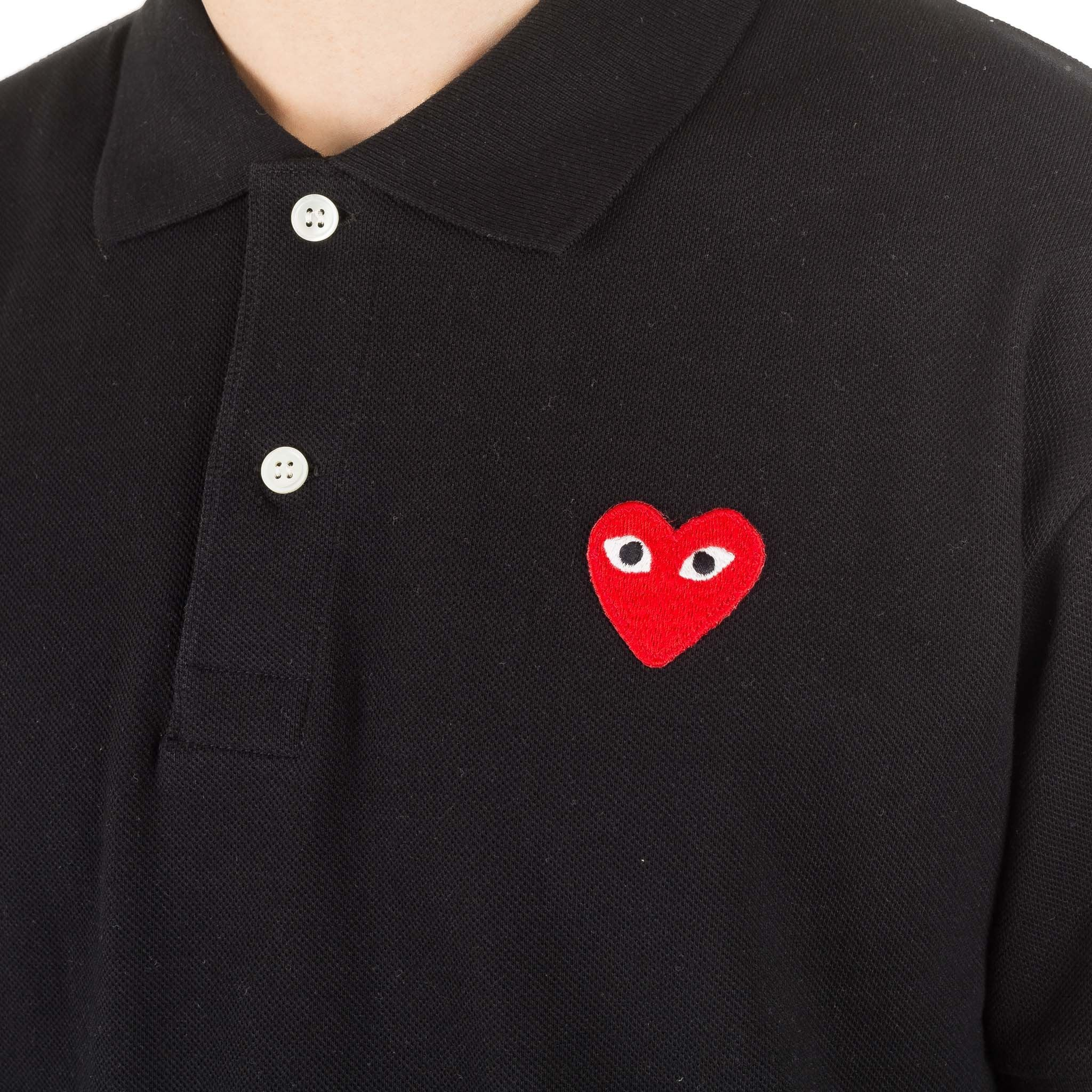 HEART LOGO AZ-T006-051-1 Polo Shirt Black