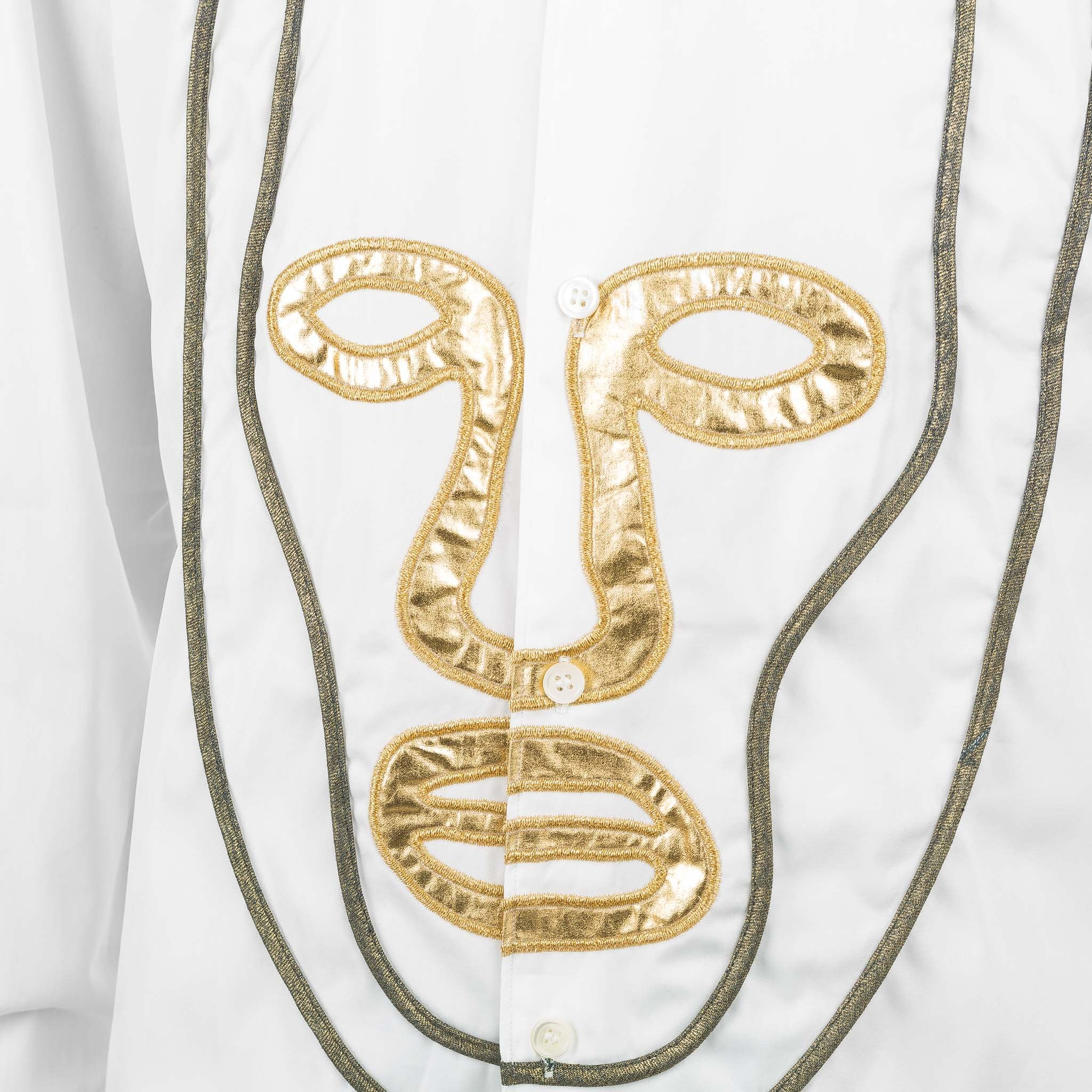 Embroidered Gold Face Shirt W25059 White