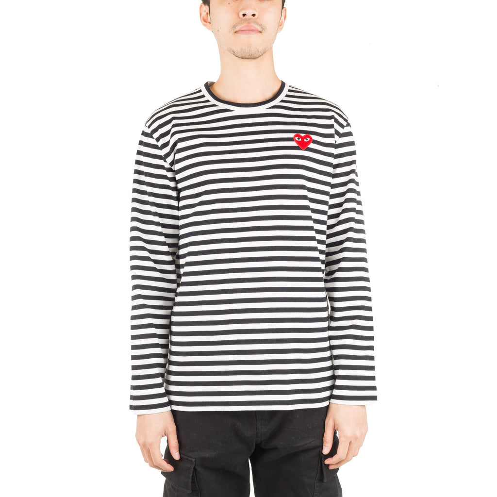 HEART LOGO STRIPED AZ-T164-051-1 L/S Tee Black/White