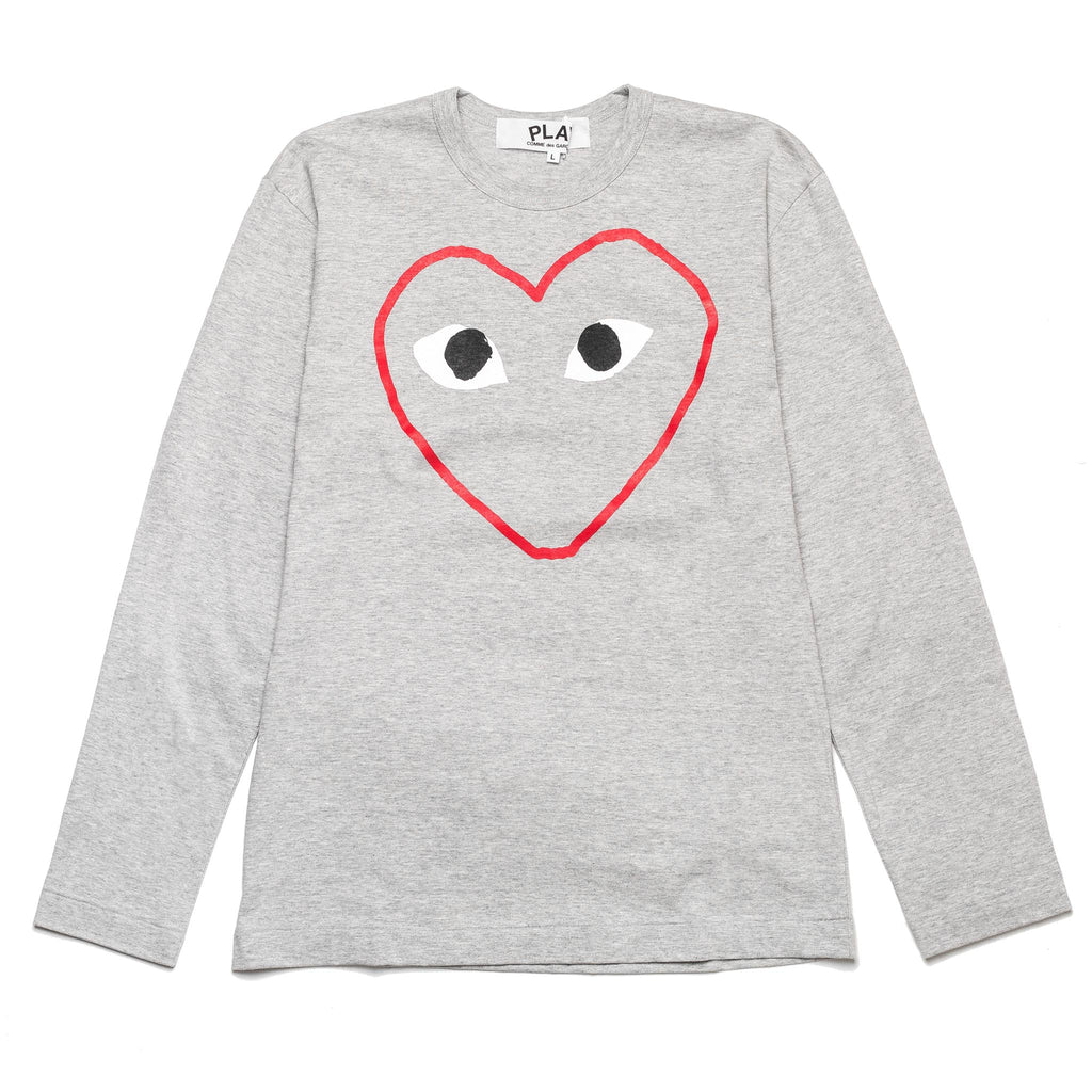 Long Sleeve Heart Outline Print Tee Grey AZ-T270-051-1