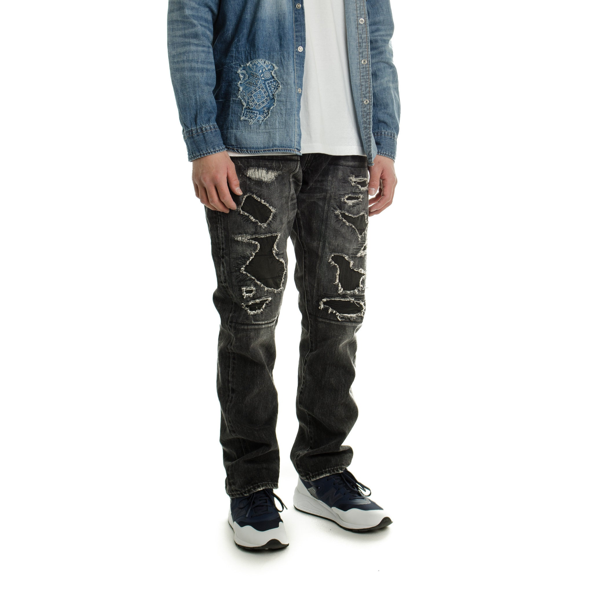 Black 5 Yrs Wide Straight Denim Black